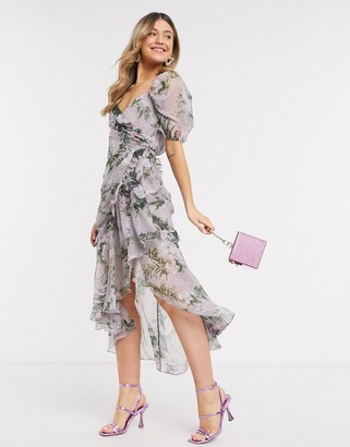 ASOS DESIGN drape detail midi dress with wrap skirt and raw edge detail rose floral