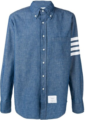 Thom Browne 4-Bar Straight-Fit Chambray Shirt