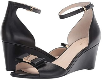 Cole Haan Tali Grand Bow Wedge 65 (Black Leather) Women's Wedge Shoes