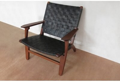 """Thumbnail for your product : Masaya & Co Abuelo 33"""" Wide Armchair Upholstery: Black, Finish: Rosita Walnut"""