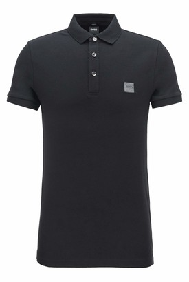 HUGO BOSS Mens Passenger Slim-fit Polo Shirt in Washed pique with Logo Patch Dark Blue