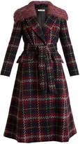 Miu Miu Tweed tartan-checked detachable-collar wool coat