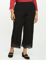 ELOQUII Plus Size Wide leg Cropped Lace Pant