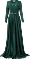 Alexis Mabille buttoned square neck gown