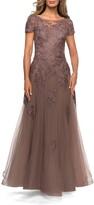 Thumbnail for your product : La Femme Floral Lace Applique Tulle A-Line Gown