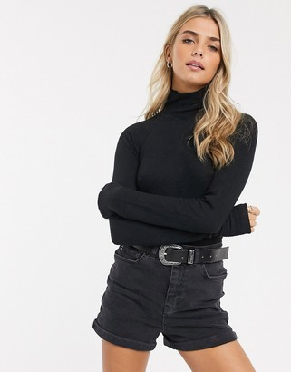 Free People All You Want roll neck long sleeved bodysuit-Black