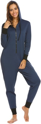 Adome Womens One Piece Pajamas Long Sleeve Loungewear Onesie Pyjama Super Soft Non Footed Union Suit with Hoodie