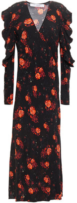 IRO Louve Gathered Floral-print Crepe Midi Dress