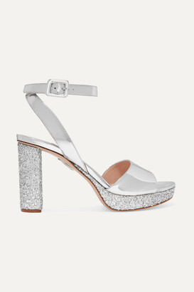 Miu Miu Glittered Mirrored-leather Platform Sandals - Silver