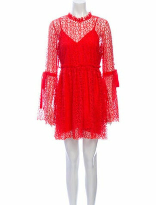 Alice McCall Lace Pattern Mini Dress Orange