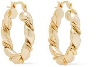 Shashi So Twisted 18-karat Gold-plated Hoop Earrings