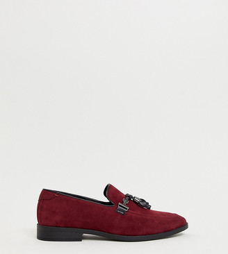 ASOS DESIGN Wide Fit loafers in burgundy faux suede with tassel