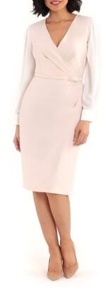 Maggy London Long Sleeve Layered Look Sheath Dress