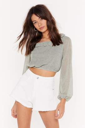 Nasty Gal Womens You'Ve Spot Mail Lace-Up Top - Green - 4, Green