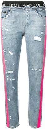 Philipp Plein Side Stripes Distressed Jeans