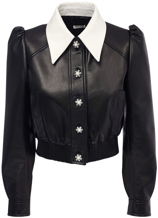 Miu Miu Leather Crop Jacket W/ Puff Sleeves