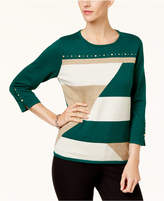 Alfred Dunner Petite Studded Colorblocked Sweater