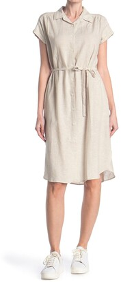 Como Vintage Linen Blend Waist Tie Dress