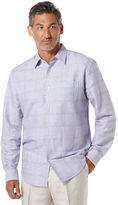 Cubavera Linen Long Sleeve Textured Roll Up Sleeve