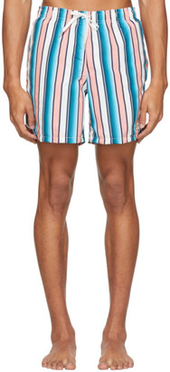 Bather Pink and Blue Striped Gradient Swim Shorts