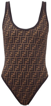 Fendi Fendirama Low-back Ff-logo Swimsuit - Black