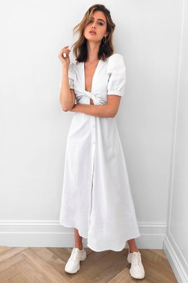 Nasty Gal Womens Front Woman Tie Maxi Dress - White - 4