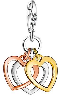 Thomas Sabo Women Charm Pendant Three Hearts 925 Sterling Silver; 18k Yellow and Rose Gold Plating 0959-431-12