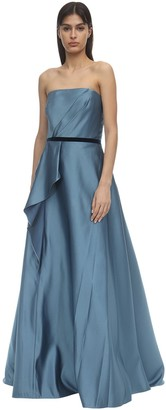 Marchesa Strapless Satin Gown