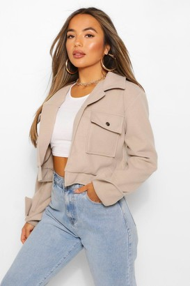 boohoo Petite Cropped Popper Front Jacket