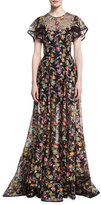 Zac Posen Floral-Embroidered Organza Gown, Black Pattern