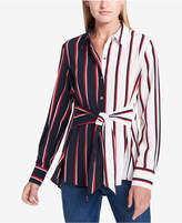 Tommy Hilfiger Tie-Front Colorblocked Tunic Shirt, Created for Macy's