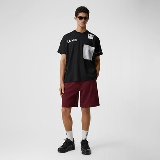 Burberry ogo Tape Cotton Drawcord Shorts
