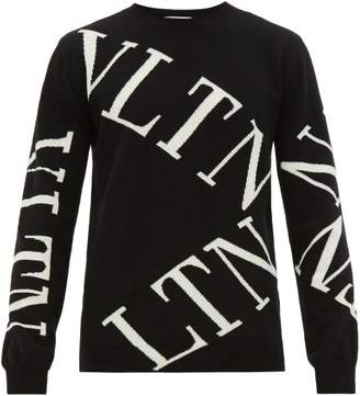 Valentino Intarsia Logo Virgin Wool Blend Sweater - Mens - Black