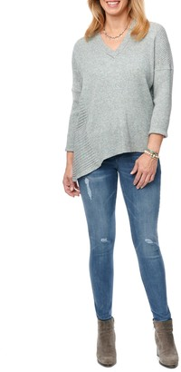 Democracy Mixed Knit Asymmetrical Hem Sweater