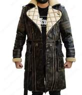 The Custom Jacket Elder Fallout Battle 4 Coat - Fur Collar Maxson Trench Leather Costume (XL, )