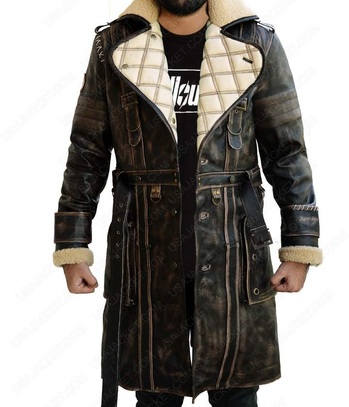 6f3224aa2 The Custom Jacket Elder Fallout Battle 4 Coat - Fur Collar Maxson Trench  Leather Costume (M, )