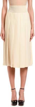 Prada Pleated Solid Midi Skirt