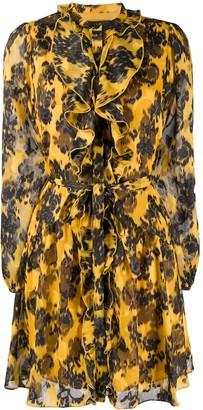 Saloni abstract print ruffle trim dress