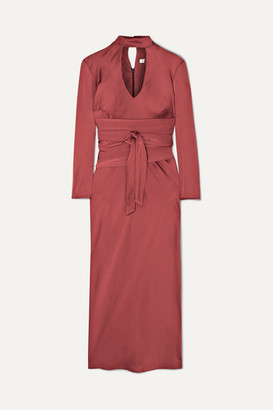 The Line By K - Porter Belted Cutout Hammered-satin Midi Dress - small