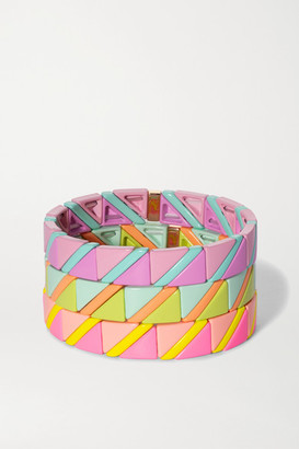 Roxanne Assoulin Delicate Neon Set Of Three Enamel Bracelets - Pink