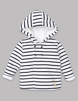 Autograph Pure Cotton Striped Hooded Jacket