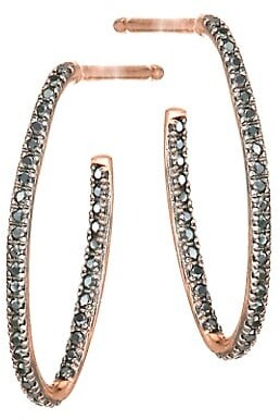 Thumbnail for your product : ginette_ny 18K Rose Gold & Black Diamond Ellipse Hoop Earrings