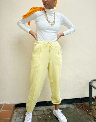 ASOS DESIGN oversized jogger with pintuck in lemon