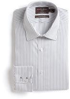 Black Brown 1826 Textured Striped Cotton Dress Shirt