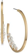 Trina Turk Gold-Tone Imitation Pearl Open Hoop Earrings