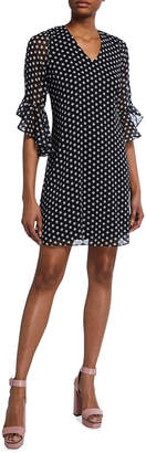 Calvin Klein Polka Dot Bell-Sleeve Shift Dress
