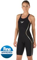 Speedo Limited Edition Women's Black and Gold LZR Racer X Open Back Kneeskin Tech Suit Swimsuit 8136045