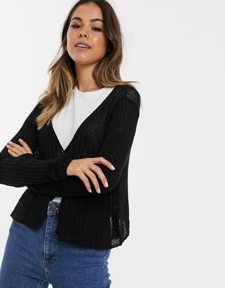 New Look button down cardigan in black