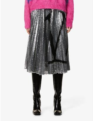Valentino Logo pleated sequinned high-waist crepe midi skirt