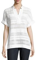Lafayette 148 New York Travis Short-Sleeve Highland Textured-Stripe Blouse, White